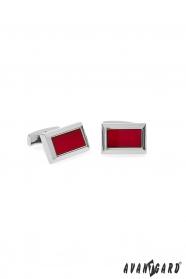 Hranaté manžetové knoflíčky stříbrné s červeným středem