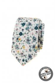Bílá slim kravata s barevnými lučními květy