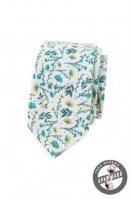 Bílá kravata s barevnými lučními květy