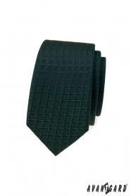 Tmavě zelená slim kravata s mřížkovaným vzorem
