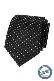 Černá hedvábná kravata s bílým puntíkem