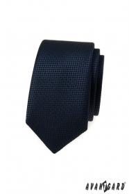 Tmavě modrá slim kravata s pletenou strukturou
