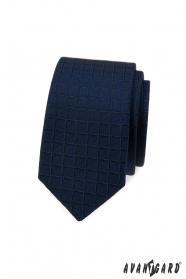 Modrá slim kravata se čtvercovou strukturou