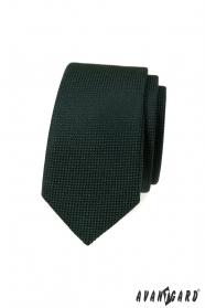 Tmavě zelená slim kravata s pletenou strukturou
