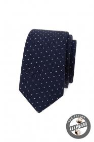 Modrá bavlněná slim kravata s bílými puntíky