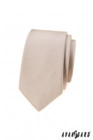 Béžová úzká kravata s tečkami
