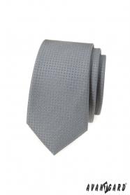 Šedá slim kravata s puntíky
