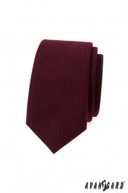 Slim kravata v barvě bordó