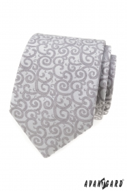 Světle šedá kravata se vzorem