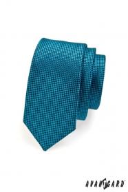 Úzká prošívaná kravata petrolejové barvy