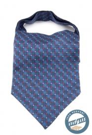 Modrý hedvábný Askot s modro červeným vzorem
