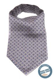 Šedý hedvábný Askot s modrým vzorom