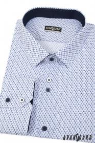 Bílá slim košile s modrým vzorem