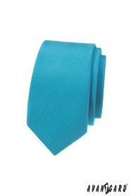 Úzká kravata s tyrkysové matné barvě