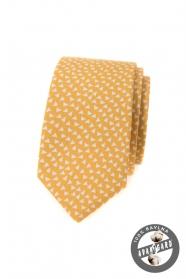 Žlutá bavlněná slim kravata s trojúhelníky