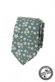 Olivově zelená slim kravata s květinovým vzorem