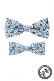 Sada bavlněných motýlků s modrým květinovým vzorem