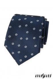 Modrá strukturovaná kravata s bílým vzorem