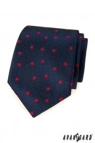 Modrá pánská kravata s červeným vzorem