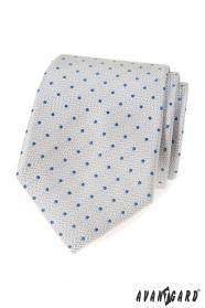 Světle šedá kravata s modrými puntíky