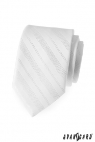Pánská kravata bílá lesklé linky