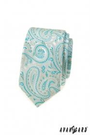 Úzká kravata s mátovým Paisley vzorem