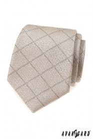Béžová kravata s mřížkovaným vzorem