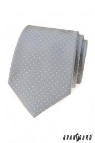Šedá kravata s tečkami