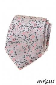 Luxusní šedá kravata s růžovým vzorem