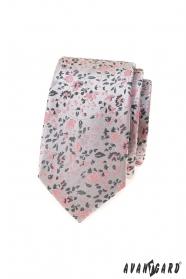 Luxusní šedá slim kravata s růžovým vzorem