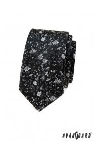 Černá slim kravata s květinovým vzorem