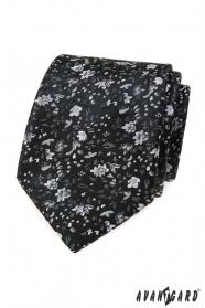 Černá květinová kravata