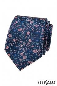 Elegantní modrá kravata s květinovým vzorem
