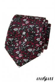 Černá kravata s červeno-šedým vzorem