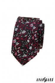 Černá slim kravata s červeno-šedým vzorem