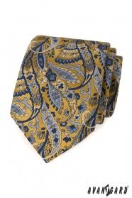 Modro-žlutá kravata vzor Paisley