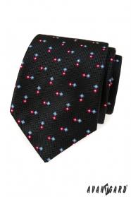 Černá strukturovaná kravata se vzorem