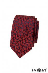 Slim kravata s červeným vzorem