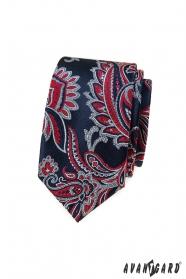 Modrá kravata slim s červeným Paisley vzorem