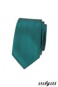 Zelená puntíkovaná slim kravata