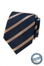 Modrá hedvábná kravata s lesklým pruhem v dárkové krabičce