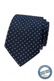 Modrá hedvábná kravata s bílým vzorem v dárkové krabičce