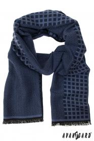 Modře vzorovaná pánská šála
