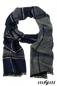 Pánská šála v modro-šedém provedení