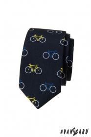 Modrá úzká kravata, vzor barevné jízdní kolo