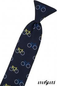 Modrá dětská kravata 44 cm, barevné jízdní kolo