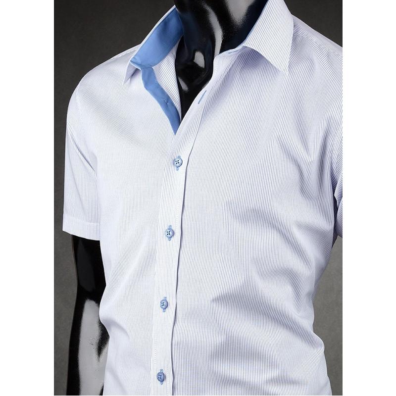 Pánská košile s krátkým rukávem Desire modro-bílá - Galamodino.cz b75e59f3bc