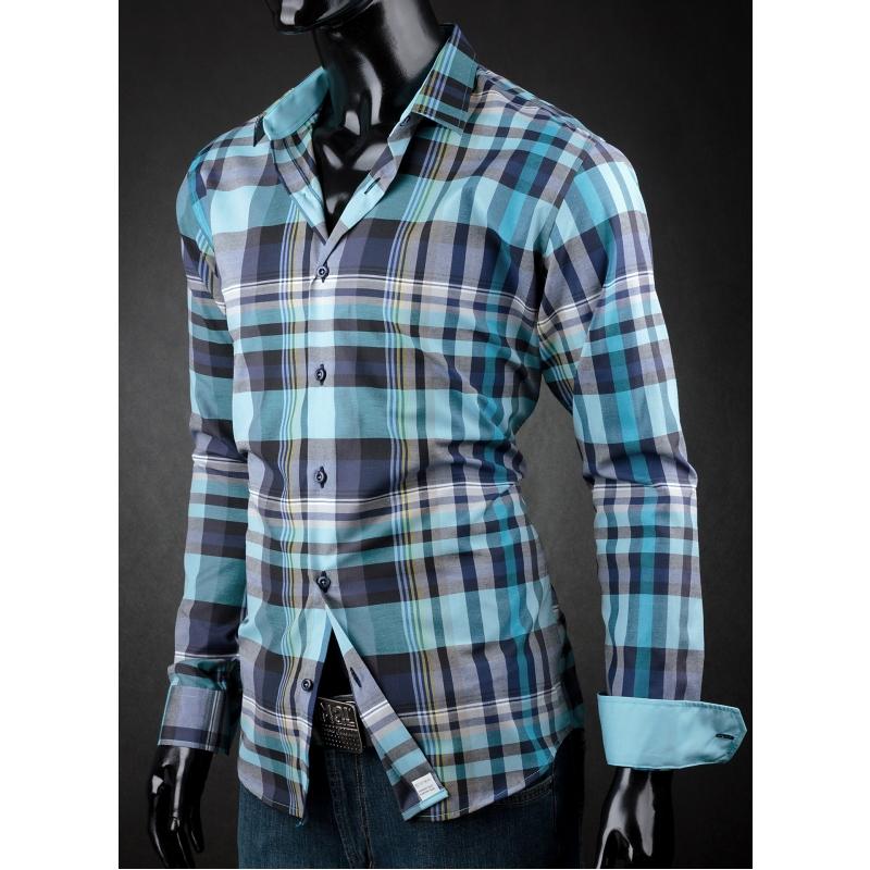 Pánská košile Victorio tyrkysová kostka - Galamodino.cz 2092b81d68