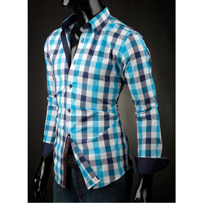 Pánská košile Victorio modrá kostka - Galamodino.cz 9aa598e96b