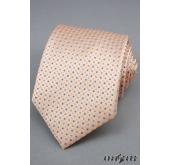 Pánská kravata oranžové a šedé tečky - šířka 9 cm